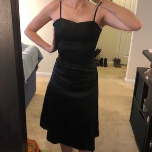 H&M Corseted satin black midi dress- 4